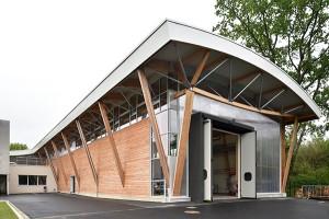 Vue extérieure halle technologique Bois HD