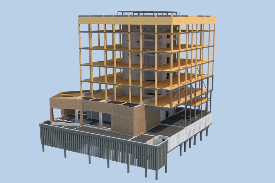 Projet immeuble bois R+6 - BE ECTS